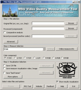 MSU Video Quality Measurement Tool 1.51 - náhled
