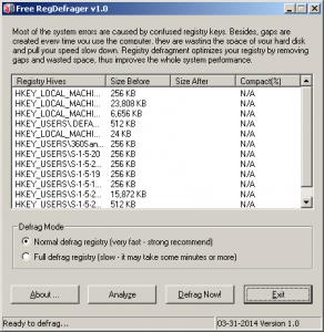 Free RegDefrager 1.0 - náhled