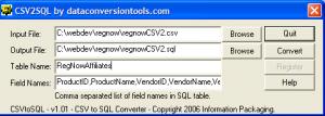 CSV to SQL Converter 1.01 - náhled