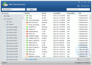Wise Data Recovery 3.87 - náhled