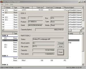 Ext2Fsd 0.69 - náhled