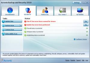Acronis Backup and Security 2010 - náhled