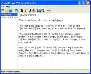 ZSoft Easy Web Creator 0.7 - náhled
