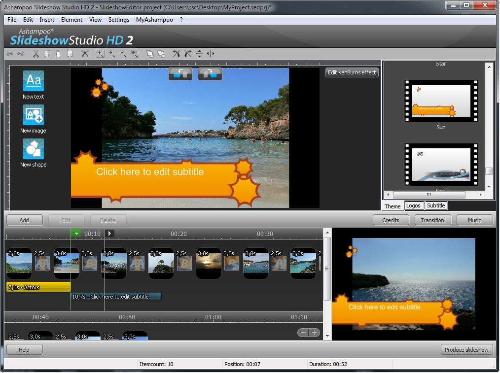 Ashampoo Slideshow Studio HD 3 3.0.5 - Plná licence - 1 licence
