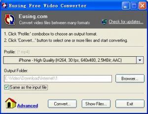 Eusing Free Video Converter 2.0 - náhled