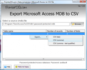 Export Microsoft Access MDB to CSV 1.01 - náhled