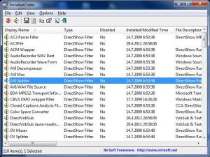 InstalledCodec 1.30 - náhled