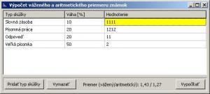 Výpočet průměru známek 1.0.0.0 - náhled