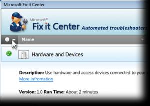 Microsoft Fix it Center Beta - náhled