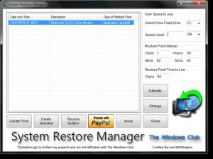 System Restore Manager 1.0 - náhled