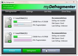 My Defragmenter 1.0 - náhled