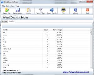 Word Density Seizer 1.02 - náhled