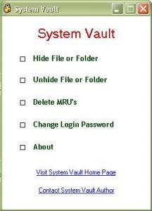 System Vault 1.16R - náhled