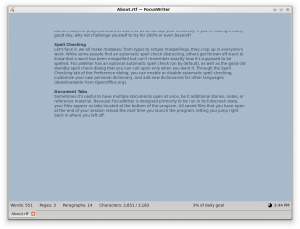 FocusWriter 1.6.0 - náhled