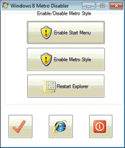 Windows 8 Metro Disabler 0.9.1 - náhled