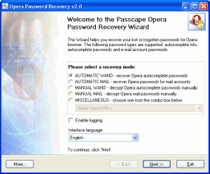 Opera Password Recovery 5.x - náhled