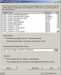Registry Backuper 1.0 - náhled