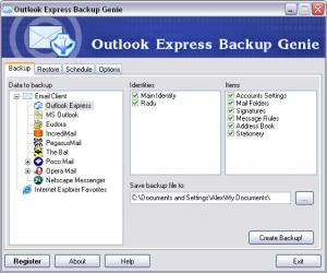 Outlook Express Backup Genie 2.0 - náhled