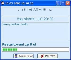 Alarm - odpočítávací dialog - náhled