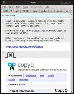 CopyQ 2.8.1 - náhled