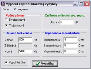 Výpočet reproduktorovej výhybky 1.0 - náhled