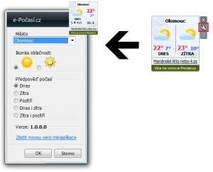 Miniaplikace e-Počasí.cz 1.0.0.0 - náhled