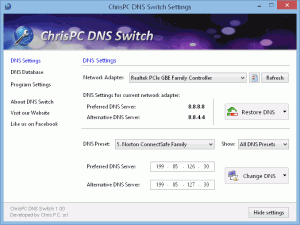 ChrisPC DNS Switch 3.80 - náhled