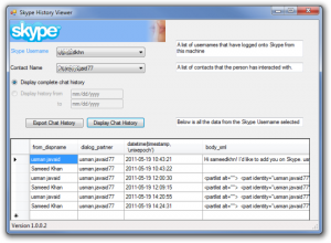 SkypeHistoryViewer 1.5 - náhled