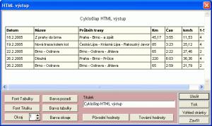 HTML výstup - náhled