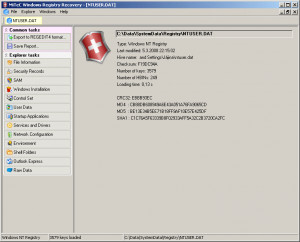 MiTeC Windows Registry Recovery - náhled