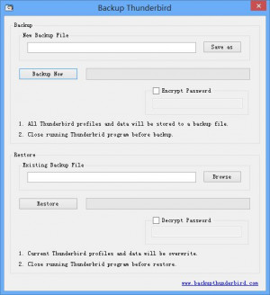 Backup Thunderbird - náhled