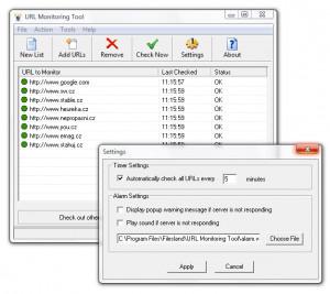 URL Monitoring Tool - náhled