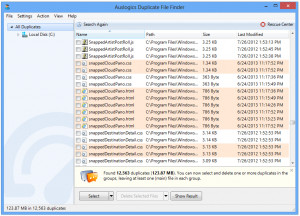 Auslogics Duplicate File Finder - náhled