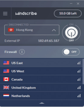 Windscribe - náhled