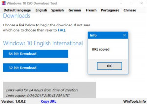 Windows 10 ISO Download Tool - náhled