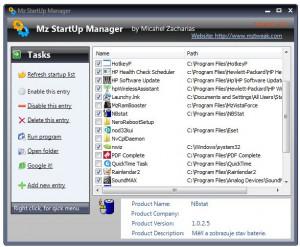 Mz Startup Manager - náhled