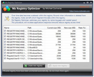 Mz Registry Optimizer - náhled