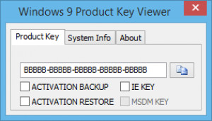 Windows 9 Product Key Viewer - náhled