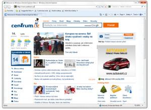 Internet Explorer 8 Centrum - náhled