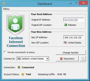 Faceless.me VPN - náhled