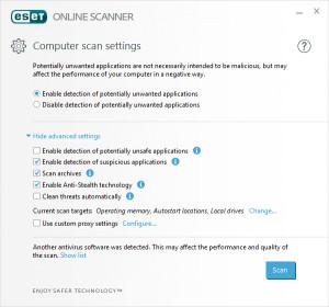 ESET Online Scanner - náhled
