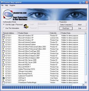 Product Key Explorer - náhled