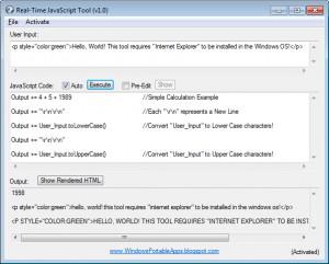 Real-Time JavaScript Tool - náhled