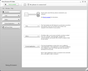 Sony Ericsson PC Suite - náhled