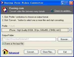 Eusing Free Video Converter - náhled