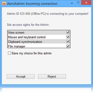 AeroAdmin - náhled