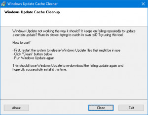 Windows Update Cache Cleaner - náhled