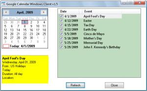 Google Calendar Client - náhled