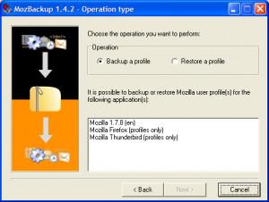 MozBackup - náhled