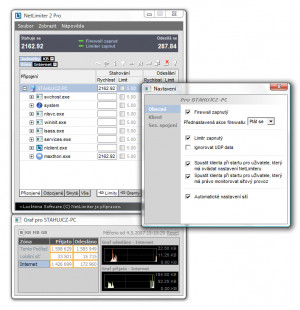 NetLimiter - náhled